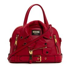 Moschino Biker Jacket Womens Leather Tote Red