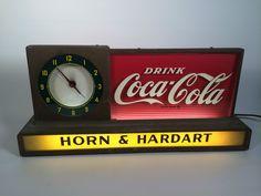 Coca-Cola Antique Clock (Old 1950 Vintage Soda Pop Beverage Advertising Countertop Lighted Sign, Horn & Hardart Coca Cola, Coke) Coca Cola Poster, Coca Cola Drink, Coca Cola Ad, Always Coca Cola, Vintage Coke, Vintage Tools, Clock Old, Pepsi Logo, Coca Cola Kitchen