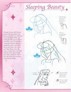 Disney - How to Draw Princesses Cartoon Sketches, Disney Sketches, Art Drawings Sketches, Disney Drawings, Cartoon Styles, Disney Style Drawing, Disney Art Style, Disney Drawing Tutorial, Sleeping Beauty Art