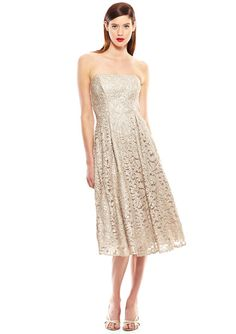 Nicole Miller Gold/Khaki Foiled Floral Lace Lace Gold New A-line Dress off  retail