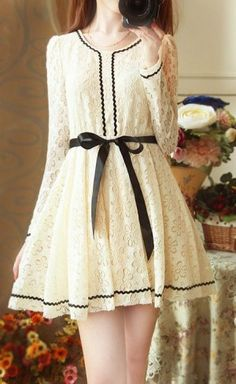 Off white lace dress with black lining Pretty Outfits, Pretty Dresses, Beautiful Outfits, Cute Outfits, Kawaii Fashion, Cute Fashion, Fashion Outfits, Womens Fashion, Japanese Fashion