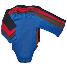 Leveret Long Sleeve 4-pack Solid Baby Boys Bodysuit 100% Cotton (Size 0-24... #Leveret