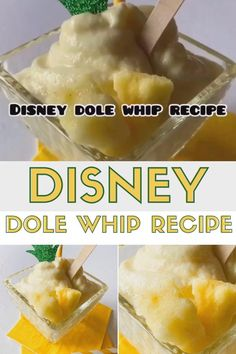 Disney Dole Whip Recipe - Enjoy your favorite Disney treat right at home! Cool off with this Copycat Disney Dole Whip Recipe with just 3 easy ingredients! Disney Themed Food, Disney Inspired Food, Disney World Food, Disney Dishes, Disney Desserts, Sweet Desserts, Disney Food Recipes, Wine Recipes, Dessert Recipes