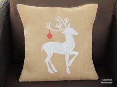 Burlap Pillow Reindeer Pillow Christmas by AmericanTradesman