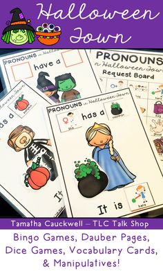 Working on pronouns and prepositions in speech?  Do some of your students need a request board to work on the skill? This fun pack of activities has you covered.  Great practice opportunities with a Halloween theme!