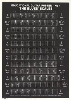 Guitar Education Blues Scales Chord Chart 25x36 Poster