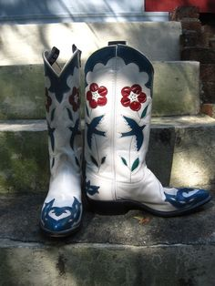 Vintage BLUE SPARROW Acme Cowboy boots Womens sz 7 by detroitdolly