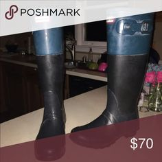 Matte Black Color Block Hunter Rain Boots These have only been worn twice! They may seem a little scuffed in the picture but that is only because of the matte finish. Very comfortable and fit extremely well. Size 8. Hunter Boots Shoes Winter & Rain Boots