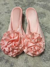 Vintage Vanity Fair Pink Satin Slippers Size 5-6 small Made in USA Hollywood