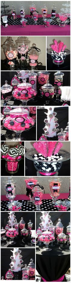 """Having a """"Pink-O-Ween"""" Halloween celebration?  Here are some great ideas for a pink AND black party candy buffet."""