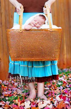 Newborn in basket. Love!