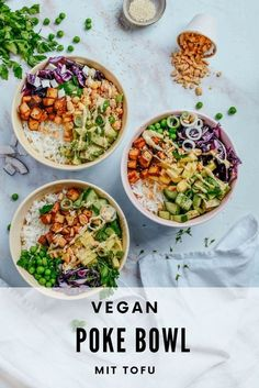 Poke Bowl mit Tofu I vegan und vegetarisch - carinaberry - Essen - Vegetarian poke bowl with tofu. Simple how to build a poke bowl guide to conjure up the perfect poke bowl. Vegan, vegetarian, high protein or low carb. There are countless great options! Tofu, Healthy Dinner Recipes, Healthy Snacks, Vegetarian Recipes, Vegan Vegetarian, Vegan Menu, Veggie Recipes, Pasta Recipes, Crockpot Recipes