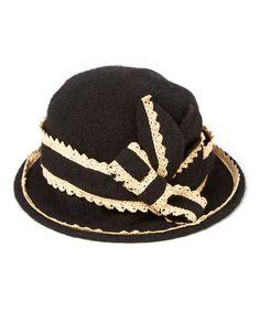 Look at this #zulilyfind! Black & Cream Lace Wool Hat #zulilyfinds