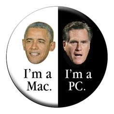 OBAMA is a MAC PIN Obama v Romney 2012 Large by psychedelictara