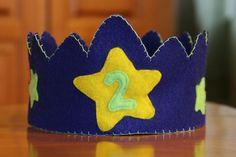 Felt Crown Boy Second Birthday by LissaKayCreations on Etsy,