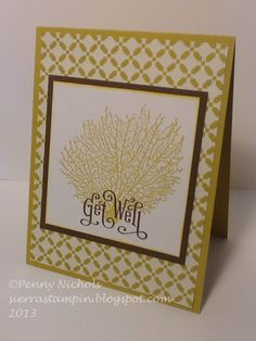 """Getwell #card using Stampin' Up! """"By the Tide"""" stamp set"""