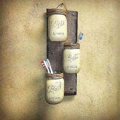 Mason Jar Decor , Pallet Wood , Rustic Cottage Storage , Three Wall Sconce , Rus… - New Design Rustic Bathroom Decor, Rustic Decor, Bathroom Ideas, Rustic Table, Bedroom Rustic, Bathroom Vanities, Rustic Signs, Diy Bedroom, Bathroom Cabinets
