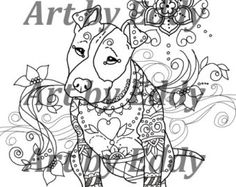 This coloring page consists of 1 hand drawn image of a beautiful Pittbull for you to color. The file is high quality PDF file containing 1 images that