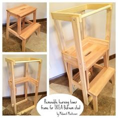 I've been asked so many times about our homemade learning tower. For those not familiar with the term, a learning tower is essentially a stool that has rails that make it safe for very young children...