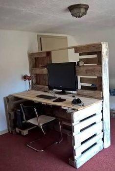 21 Modern Home Office Design Ideas For Inspiration modern executive desk for home office Pallette Furniture, Pallet Furniture Designs, Wood Pallet Furniture, Pallet Designs, Diy Furniture Projects, Modern Executive Desk, Modern Home Office Desk, Home Desk, Pallet Projects Diy Garden