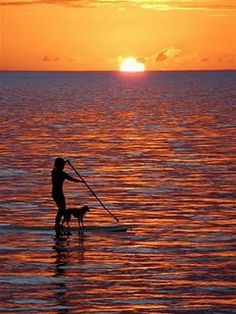 Paddle boarding with friend at sunset...