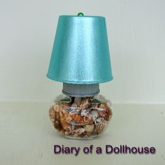 My handcrafted bedside table lamp for the dollhouse.  Easy to make.