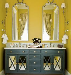 KITCHEN & VANITY CABINET UPGRADES: MIRROR AND TRIM ADDED TO FRONTS
