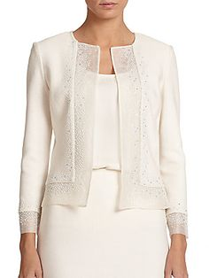John Sequin-Trimmed Knit Jacket worn by Olivia Pope on Scandal. Lace Jacket, Knit Jacket, Cream Jacket, Sequin Jacket, Wool Cardigan, Handgestrickte Pullover, Fashion Mode, Jacket Pattern, Dress Suits
