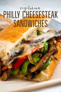Portobello mushroom Philly cheesesteak sandwiches with caramelized onions and peppers. Topped with provolone cheese and loaded into a garlic butter toasted bun, this vegetarian sandwich is great for lunch or an easy weeknight dinner. Best Sandwich Recipes, Burger Recipes, Meat Recipes, Seafood Recipes, Whole Food Recipes, Vegetarian Recipes, Best Vegetable Recipes, Mushroom Recipes, Sliced Roast Beef