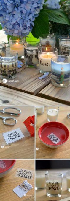 40 DIY Ideas & Tutorials for Photo Transfer Projects - Candles - Ideas of Candles - Custom Photo Candle Holders. Diy Craft Projects, Diy And Crafts, Photo Projects, Project Ideas, Wood Projects, Photo Deco, Photo Candles, Creation Photo, Navidad Diy