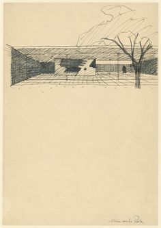 """Court House, project, Perspective sketch with garden sculpture  Ludwig Mies van der Rohe (American, born Germany. 1886–1969)    1935. Ink on paper mounted on board, 8 1/4 x 11 7/8"""" (21 x 30.2 cm). Mies van der Rohe Archive Purchase. © 2012 Artists Rights Society (ARS), New York / VG Bild-Kunst, Bonn"""