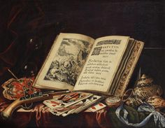 Simon Renard de Saint André (Paris circa 1613-1677) A still life of an open book, bubbles, coral, a flintlock pistol, playing cards, a pocket watch on a blue silk ribbon and a variety of shells on a table draped with a red and a green cloth
