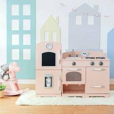 Teamson Kids Little Chef Paris Play Kitchen Set & Reviews | Wayfair Wooden Toy Kitchen, Vintage Kitchen, Mud Kitchen, Kids Play Kitchen Set, Playroom Furniture, Bright Kitchens, Play Kitchens, Retro Kids, Style Retro