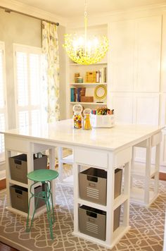 Eclectic Home Homeschool room Design Ideas, Pictures, Remodel and Decor Craft Room Design, Small Dining, Ikea Dining, Square Tables, Sewing Rooms, Room Organization, Diy Furniture, Furniture Outlet, House Design