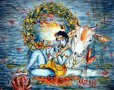 Sweet Krishna Flute Player Original painting Love by sadashivarts