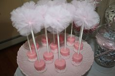 white chocolate dipped marshmellows, with stick and monogram and pink bow!