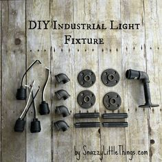 A how-to guide to create a unique industrial lighting fixture. We replaced our old bathroom vanity lights. Dark walnut stain combined with bronze pipe.