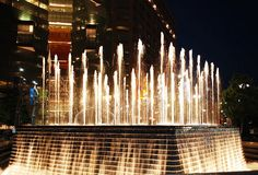 Campus Martius Fountain at Night