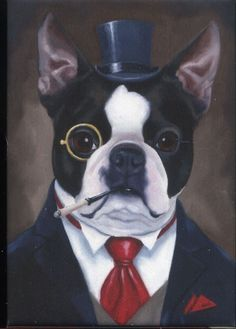 Boston terrier gentleman dog art magnet by rubenacker on Etsy