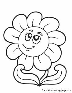print out spring happy face flower coloring page - Coloring Pages Spring Flowers