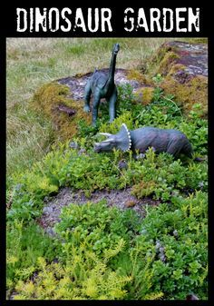 """How to make your own """"dinosaur garden"""" for outdoor imaginary play this summer. Post includes list of materials and helpful tips for creating your own! FUN AT HOME WITH KIDS"""