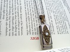 USB Necklace USB Pendant Flash Drive Necklace Memory Stick Necklace Swarovski Necklace Gothic Necklace Gothic Jewelry Gift For Him by AppleBite Jewelry, $55.00 EUR