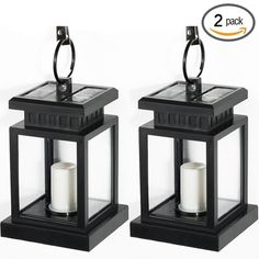 GMFive Pack of 2 Waterproof Solar Powered Hanging Umbrella Lantern Portable Led Candle Lights with Clamp for Beach Umbrella Tree Pavilion Garden Yard Lawn Camping etc. Lighting