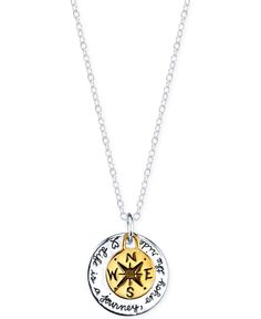 Life is a Journey Compass Pendant Necklace in Gold-Flashed Sterling Silver and Sterling Silver