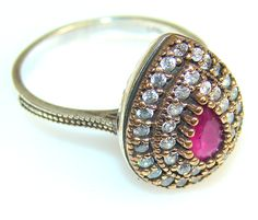 $43.25 Beautiful Ruby Sterling Silver Ring s. 8 at www.SilverRushStyle.com #ring #handmade #jewelry #silver #ruby
