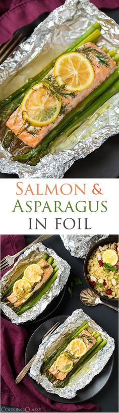 Baked Salmon in Foil (with Asparagus) - Cooking Classy - Baked Salmon and Asparagus in Foil – this is one of the easiest dinners ever, it tastes amazing, it's perfectly healthy and clean up is a breeze! Salmon Recipes, Fish Recipes, Seafood Recipes, Cooking Recipes, Recipes Dinner, Cooking Ribs, Cooking Games, Cake Recipes, Recipies