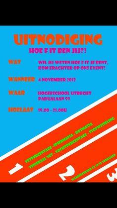 Hoe fit ben jij?! - Het is een vrolijk uitnodiging met sportieve kleuren, aan de atletiekbaan te zien gaat het over bewegen.
