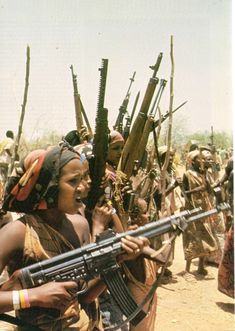 Women of the West Somali Liberation Front express their support for Somalia during the war against Ethiopia for the border territory of the Ogaden in 1977-8.