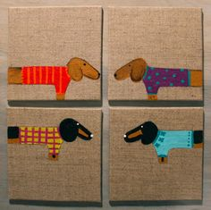Dachshund Coasters Hand Painted set of 4 by MaxMinnieandMe on Etsy