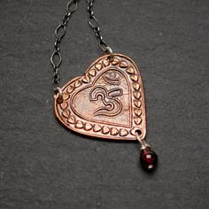 Om Heart Necklace in Copper by Moda Di Magno, $60    Perfect Valentine selection from Etsy Metal Clay Team  www.facebook.com/emcteam